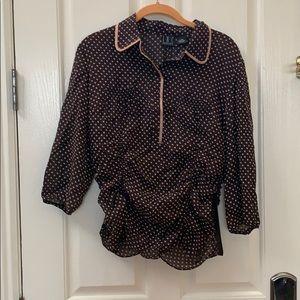 Brown Polka Dot Sheer Shirt